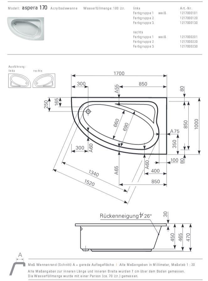 Eckbadewanne maße 100  Mauersberger Badewanne ASPERA 170 x 100 cm - ACRYL - ECK - Links L ...