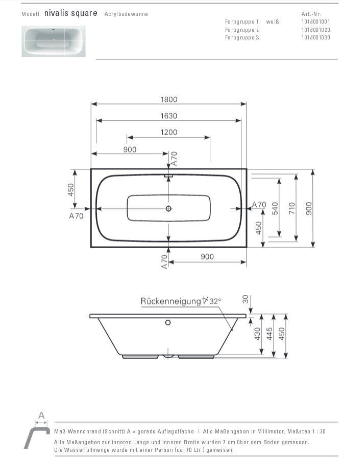 Mauersberger Badewanne NIVALIS square 180 x 90 cm - ACRYL - Rechteck ...