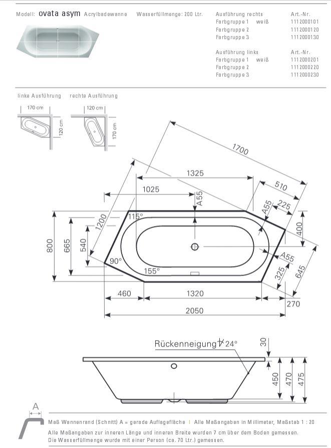 Sechseck badewanne maße  Mauersberger Badewanne OVATA asymmetrisch 205 x 80 cm - Sechseck ...