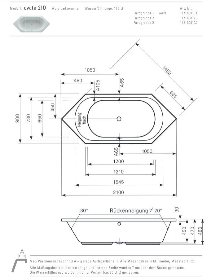 Sechseck badewanne maße  Mauersberger Badewanne OVATA 210 x 90 cm - Sechseck - ACRYL - 6 ...