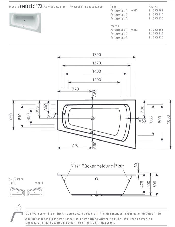Mauersberger badewanne senecio 170 x 105 cm acryl eck for Asymmetrische badewanne 170
