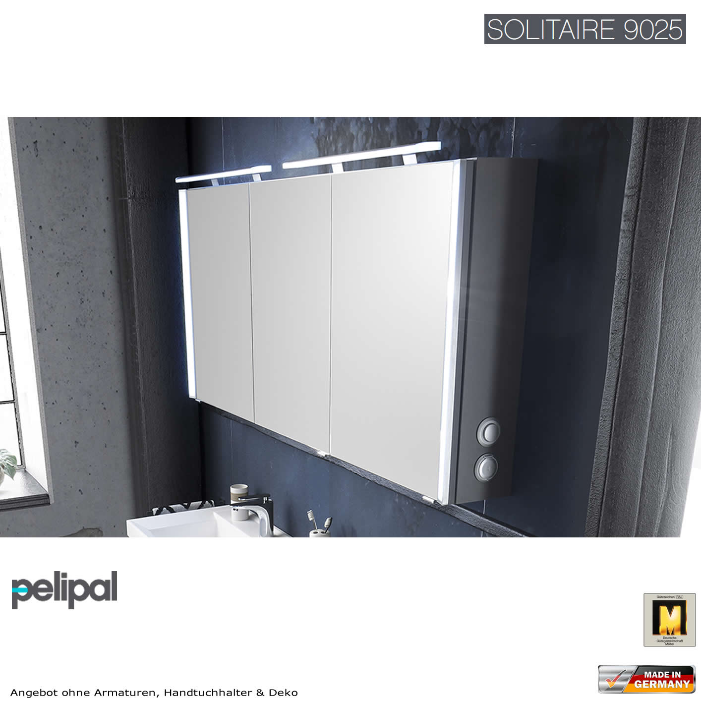 pelipal solitaire 9025 spiegelschrank 160 cm impulsbad. Black Bedroom Furniture Sets. Home Design Ideas