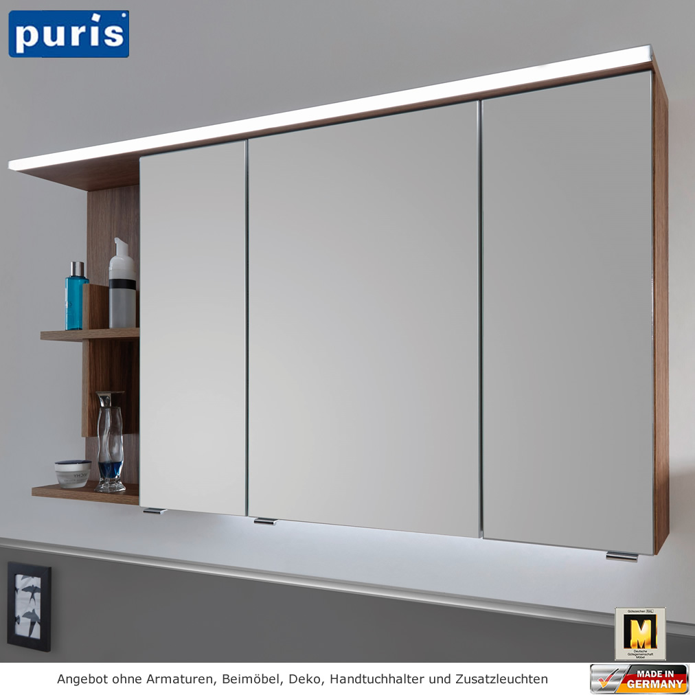 puris purefaction led spiegelschrank 120 cm regal mit kreuz links impulsbad. Black Bedroom Furniture Sets. Home Design Ideas