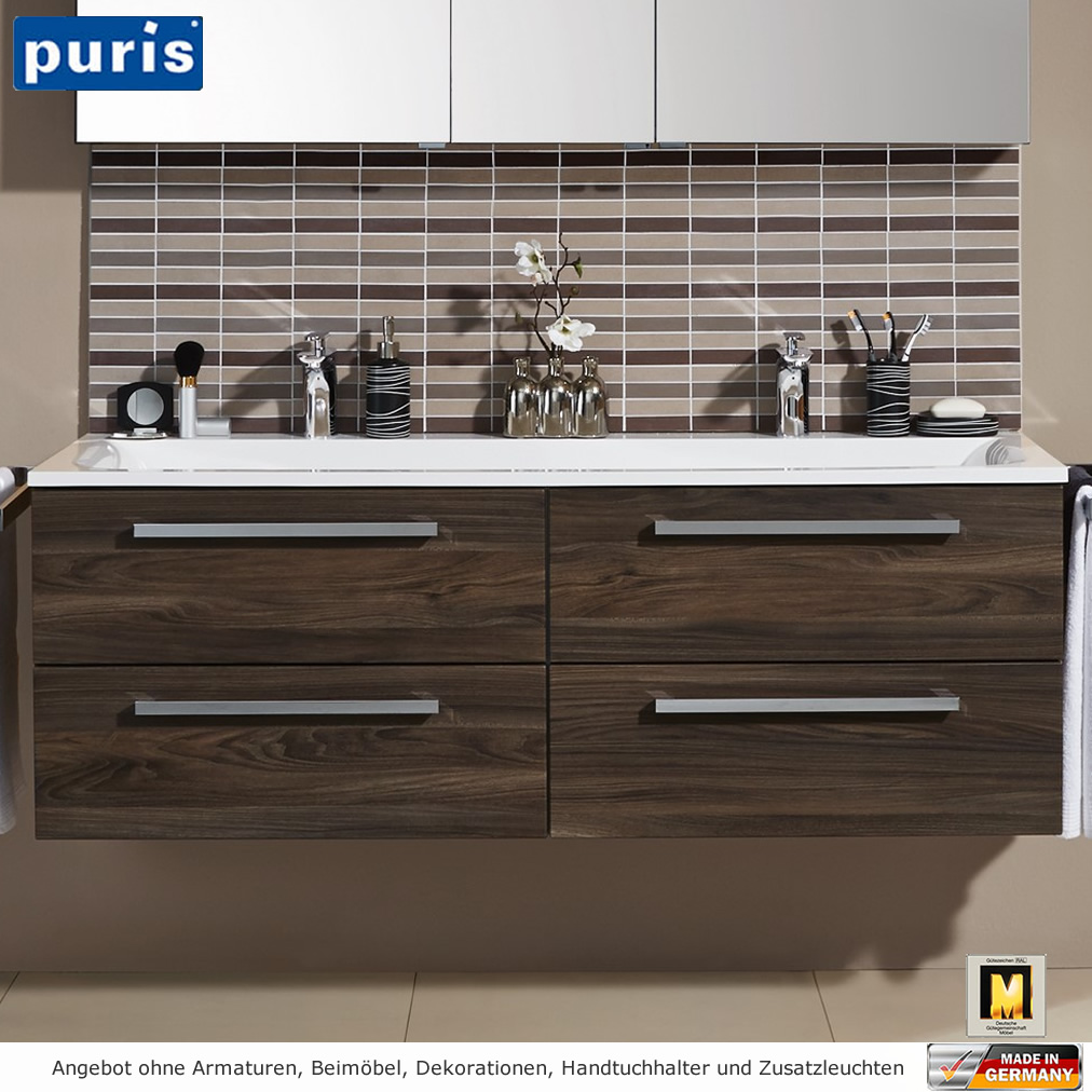 puris star line badm bel als set 140 cm mit spiegelschrank. Black Bedroom Furniture Sets. Home Design Ideas