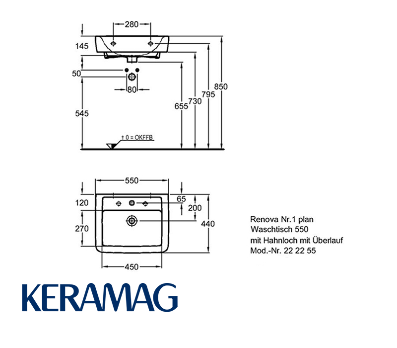 Keramag Renova Nr1 Plan Waschtisch 55 Cm Impulsbad