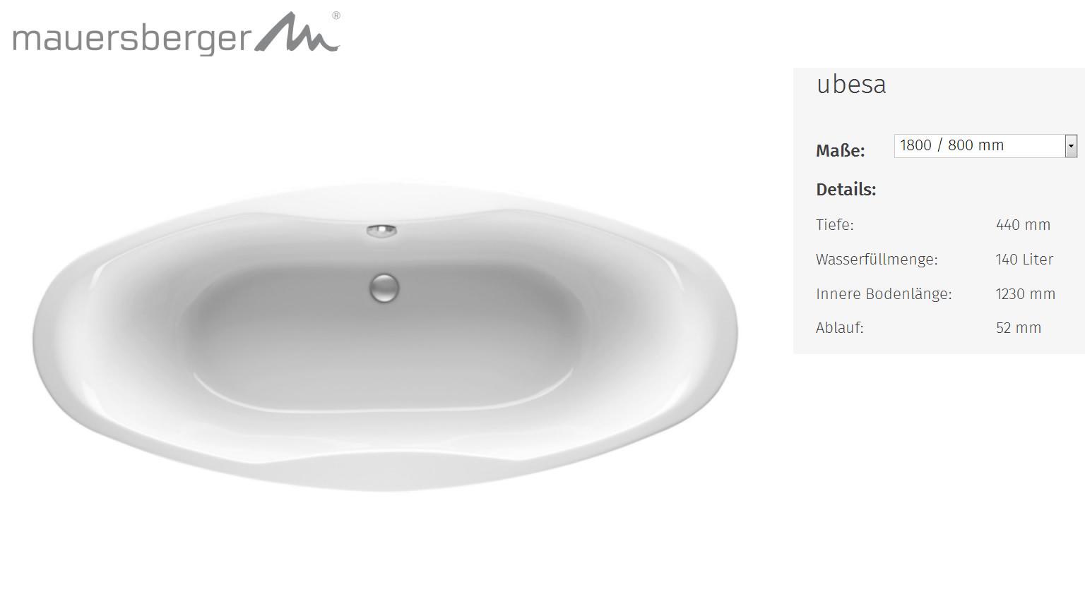 Mauersberger Badewanne Ubesa 180 X 80 Cm Acryl Oval Impulsbad