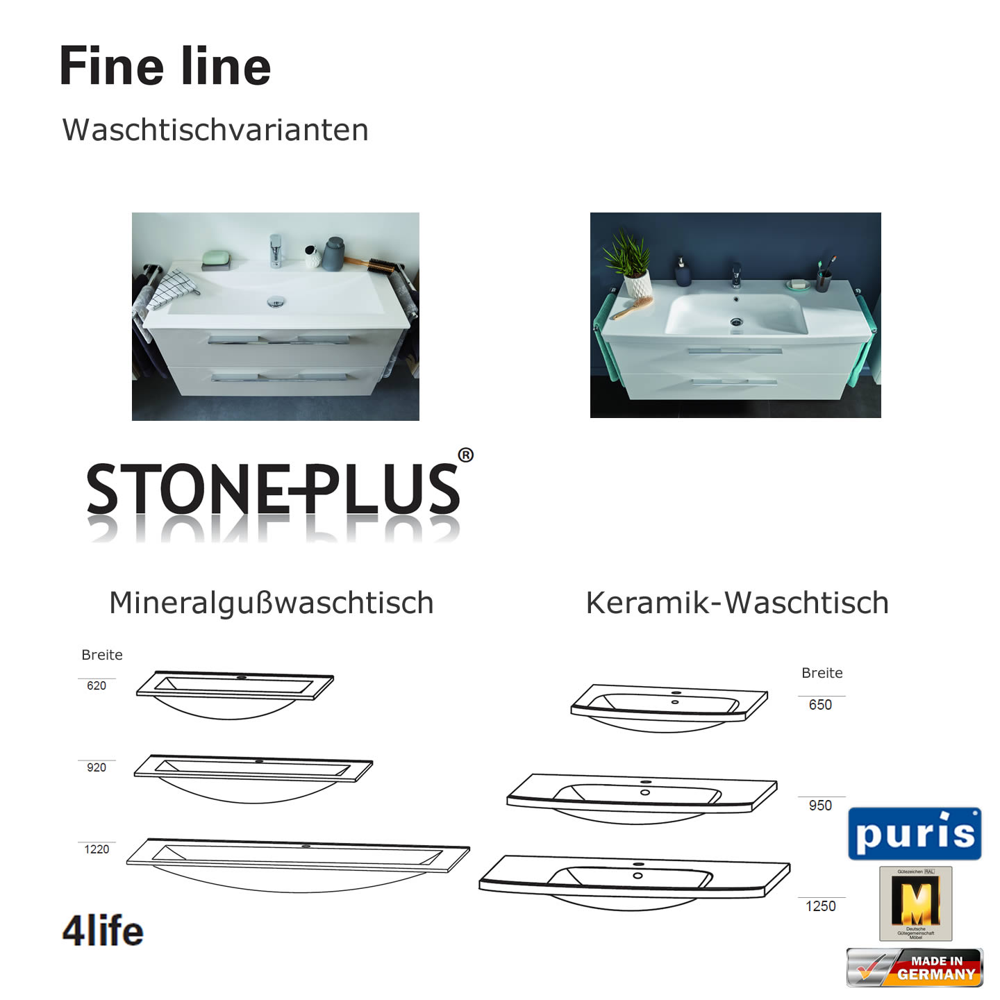 puris fine line stoneplus mineralguss waschtisch set 60 cm. Black Bedroom Furniture Sets. Home Design Ideas