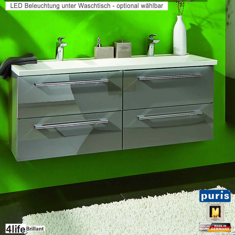 puris brillant badm bel als waschtisch set mit evermite doppel waschtisch 120 cm 4 ausz ge. Black Bedroom Furniture Sets. Home Design Ideas